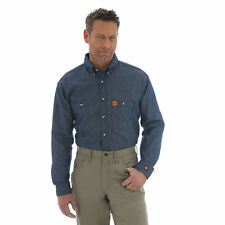 NEW Wrangler FR Riggs Workwear Flame Resistant Long Sleeve Men's Shirt - Denim