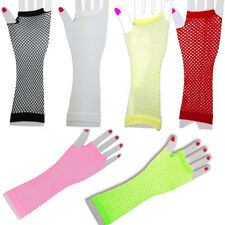 neon hot assorted colours long fishnet fingerless gloves 80's party goth QG1