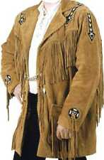 New Mens Native American Tan Suede Leather Coat American Fringes & Beads Jacket