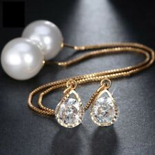 Water Drop Shape Austrian Crystal Long Stud Earrings Pearl Elegant Gold Jewelry