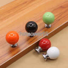 5*Solid Color Round Ceramics Drawer Knob Cabinet Cupboard Door Pull Handle Decor
