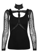 Top black with sleeves fishnet spider and straps, gothic rock p Punk Rave