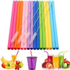 Reusable Silicone Drinking Straws Food Grade Straw with Cleaning Brushes Set 6/8
