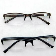 Men's Unisex Black/Tan Spring Hinge Temple Half Rimless Reading Glasses Reader