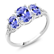 10K White Gold Engagement Ring 1.67 Ct Oval Blue Tanzanite