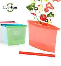 Reusable Silicone Food Storage Airtight Seal Bag, Zip Lock Containers 1000ml Cap