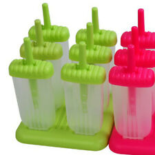 6-Cell DIY Frozen Ice Cream Pop Molds Rectangle Shaped Ice Lolly Makers Reusable