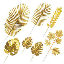 Gold Silk Plant Tropical Palm Leaves Simulation Leaf Hawaiian Party Decoration