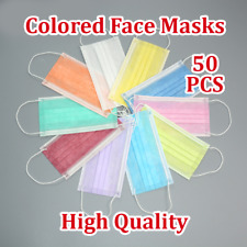 50PCS Colored Disposable Face Masks 3Ply Medical Surgical Dust Masks