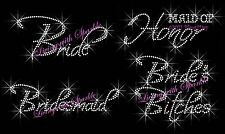 BRIDES RHINESTONE IRON ON TRANSFERS HOT FIX BLING MAID