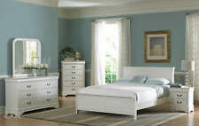 NEW 4PC MARIANNE WHITE WOOD LOW PROFILE BEDROOM SET