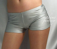 SILVER SPANDEX SHINY MICRO SHORTS HOT PANTS XS-XXXL