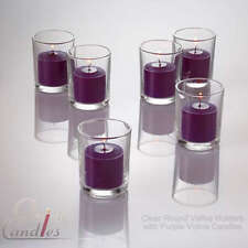 72 Purple Votive Candles & 72 Clear Glass Holders