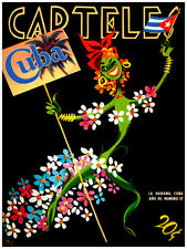 """237.Cuban Quality Design poster""""Visit Cuba travel cover ad""""Flower girl.Hotel Wal"""