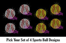 SET OF 4 SPORTS BALL RHINESTONE IRON ON TRANSFER BLING