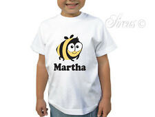 KIDS GIRL BOY PERSONALISED BUMBLE BEE CHILDRENS WHITE T-SHIRT