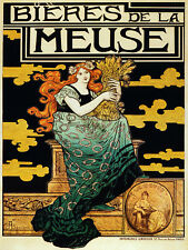 3510 French Vintage POSTER.Powerful Graphic Design.Beer of the Meuse. Art Decor