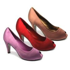 WOMENS WEDDING SHOES NEW LADIES HEELS SATIN BRIDESMAID FANCY PEEP TOE SHOES SIZE