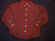 NWT Boys Gymboree Holiday red long sleeve button up shirt ~ 3-6 months 3 3T