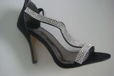 New black diamante evening sandal by Linzi in sizes 3-8