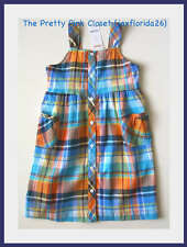 Gymboree Tropical Bloom Plaid Sun Dress New With Tags Beach Seaside Blue Orange