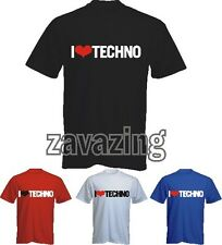 I LOVE TECHNO T-SHIRT MUSIC RAVE RETRO -CLUB DJ - IBIZA