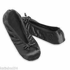 Ladies Isotoner Satin Ballet Style Slippers BLACK