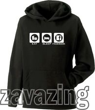 EAT SLEEP FACEBOOK UNISEX HOODIE HOODY FB ADDICT INTERNET TWITTER FACE BOOK WWW