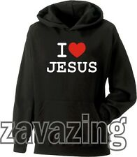 I LOVE JESUS UNISEX HOODIE HOODY CHRISTIAN RELIGION BIBLE LORD HEART CHURCH CROS