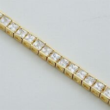"8 CARAT GOLD GP CZ CUBIC ZIRCONIA TENNIS BRACELET PRINCESS CUT 7"" or 8"""