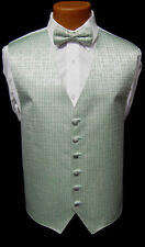 Mens Perry Ellis Green Patterned Fullback Vest & Bow Tie Tuxedo Wedding Prom