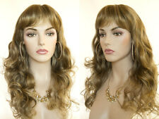 Long Layered Blonde Brunette Red Wavy Partial Skin Top Wigs with Bangs