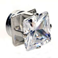 Princess Square Cut Clear CZ Stainless Steel Setting Men Magnetic Stud Earrings