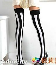 Admcity Slim Looking Opaque Vertical Stripes Thigh High Stockings Black/White