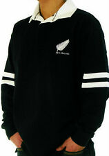 New Zealand 100% Cotton Rugby Shirt, All Blacks Feather Design Stripes S - XXL