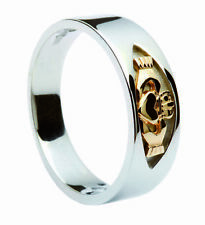 CLADDAGH Silver & 14K Gold Irish Ring Size Selectable - Handmade in Ireland