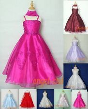 M4016 NWT ORGANZA BRIDESMAID PAGEANT FLOWER GIRL DRESSES IN COLORS Sz 4-18