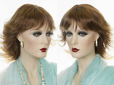 Mid Length Straight Razor Style Short Blonde Red Wigs Flipped up ends and Bangs