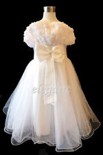 White Rosette Wedding Flower Girl Dress Pageant Gown Size 3-12 Age 2-13T UK Ship