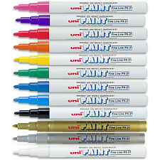 UNI COLOURED PAINT MARKER PEN MULTI SURFACE OIL BASED OPAQUE OUTDOOR MARKING
