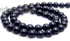"SALE  6 to 18mm  Round Black natural agate Beads Strand 15""-los216 Free shipping"