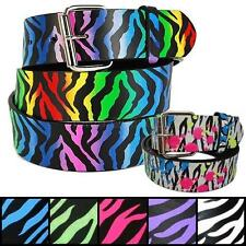Zebra Stripes Printed Leather Belt Removable Roller Buckle Unisex Mens Womens