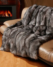 Premium Full Pelt Fur Blankets - Silver Indigo Fox Throw Queen and King Size