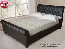 Brown Faux Leather Chesterfield Sleigh Bed - 5ft Kingsize
