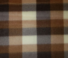 60 Inch Width Brown Check Polar Fleece, Material,Fabric,Soft And Washable