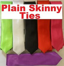 Funky Skinny Ties In Plain Tie Designs Inc Red, Pink, Green, Black, Purple White