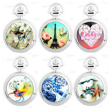 NEW Ceramic Painting Style Necklace Pocket Chain Pendant Quartz Watch 20 Choices