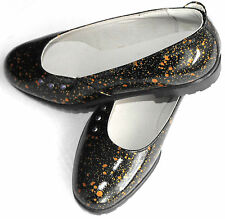 PRIMIGI JUNIOR LEATHER SLIP ON SHOES FIRST GIRLS BLACK & ORANGE CIRCLE CRYSTALS
