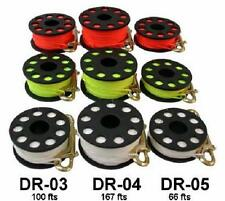 Red Hat Diving. 50metre finger reel with double ended boltsnap.white or yellow