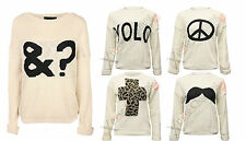WOMENS AMPERSAND & ? SYMBOL JUMPER LADIES KNITTED WINTER CHUNKY KNIT SLEEVED TOP